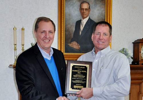 Farrior & Sons Recognized by NC Dept. of Labor